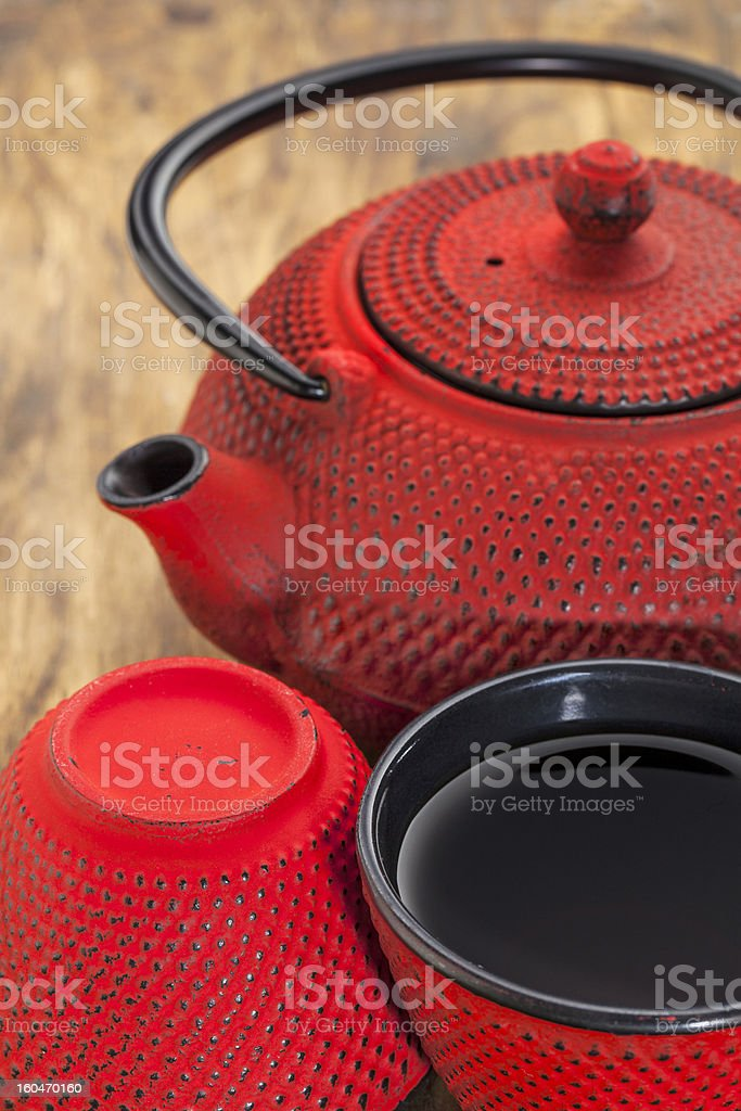 red tetsubin with cups stock photo