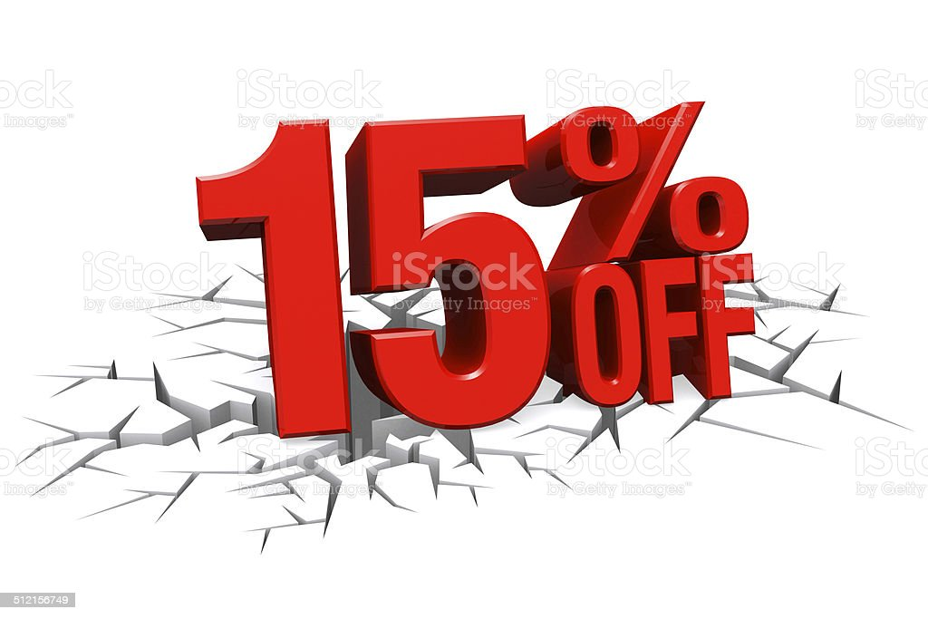 3D red text 15 percent off on white crack floor. stock photo