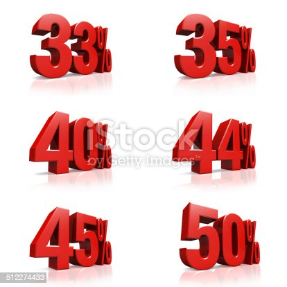 istock 3D red text 33,35,40,44,45,50 percent 512274433