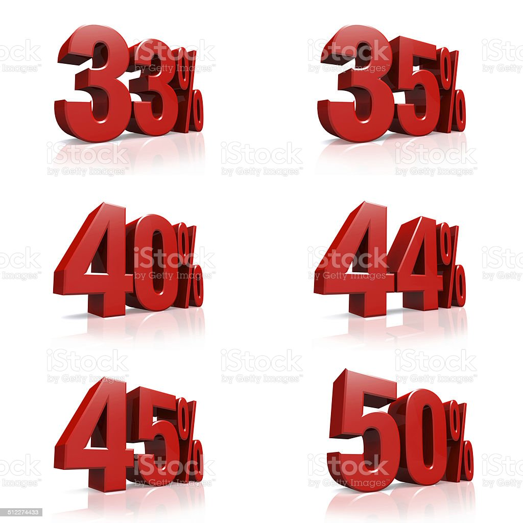 3D red text 33,35,40,44,45,50 percent stock photo