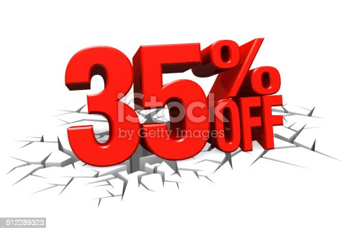 906580458 istock photo 3D red text 35 percent off on crack hole floor. 512289323