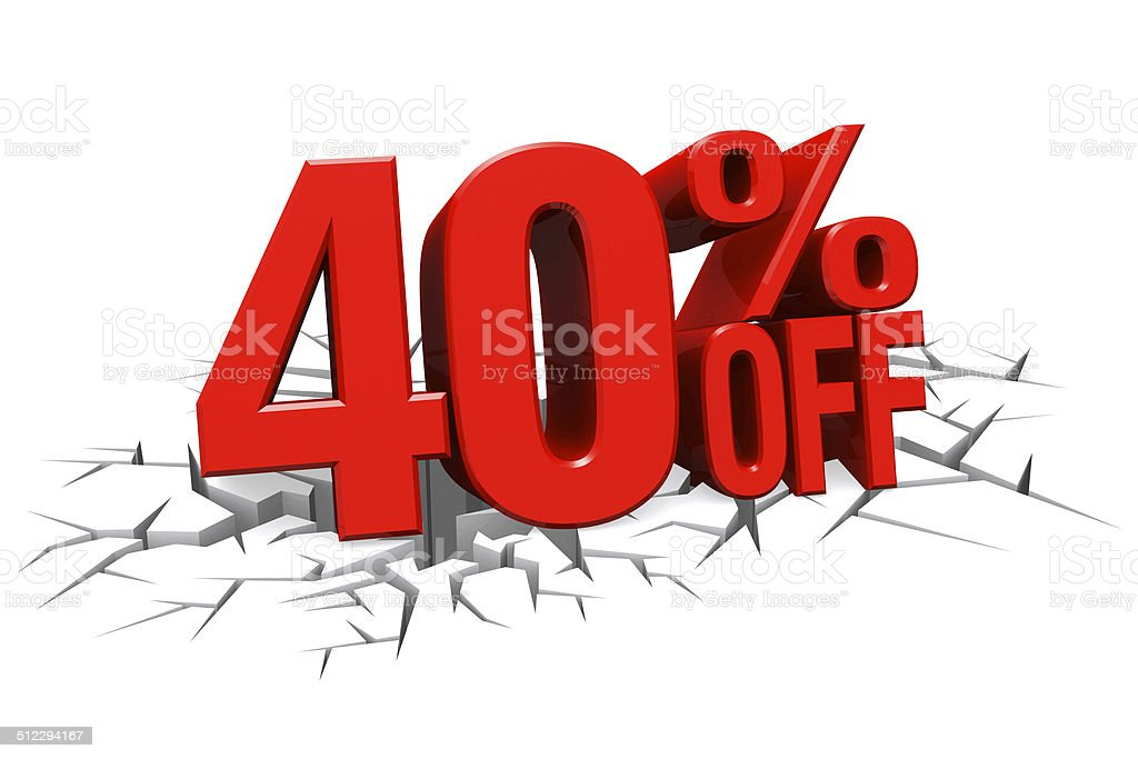 3D red text 40 percent off on crack hole floor. stock photo
