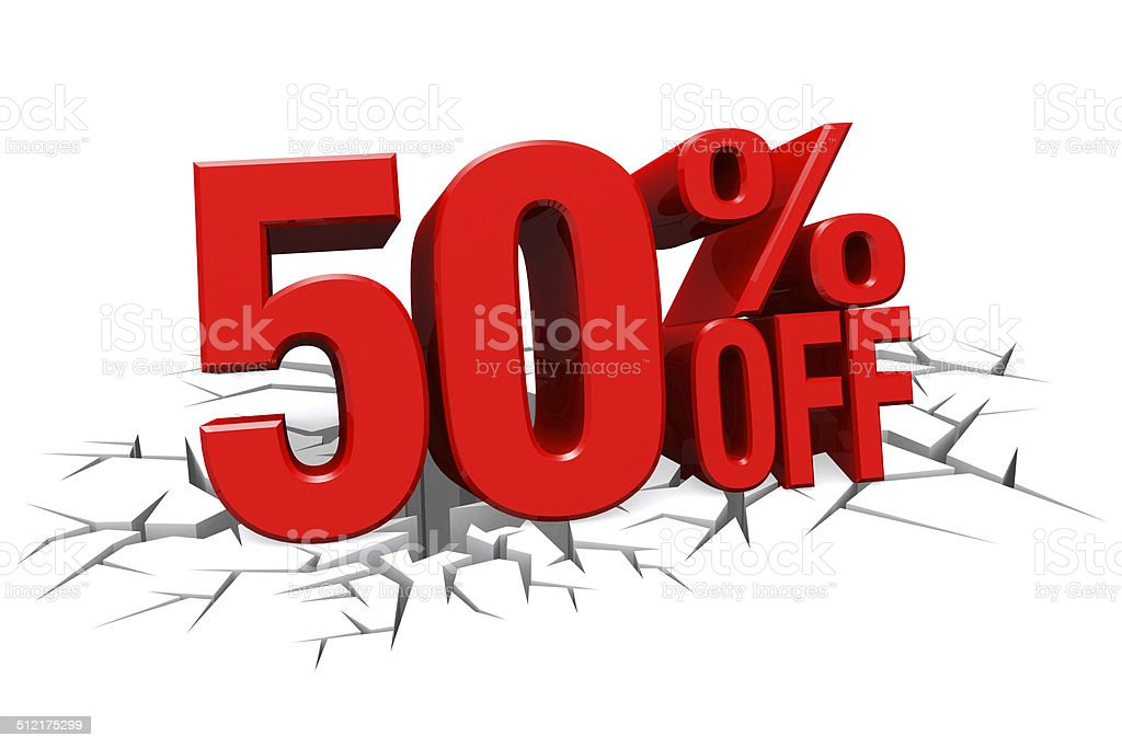 3D red text 50 percent off on crack hole floor. stock photo