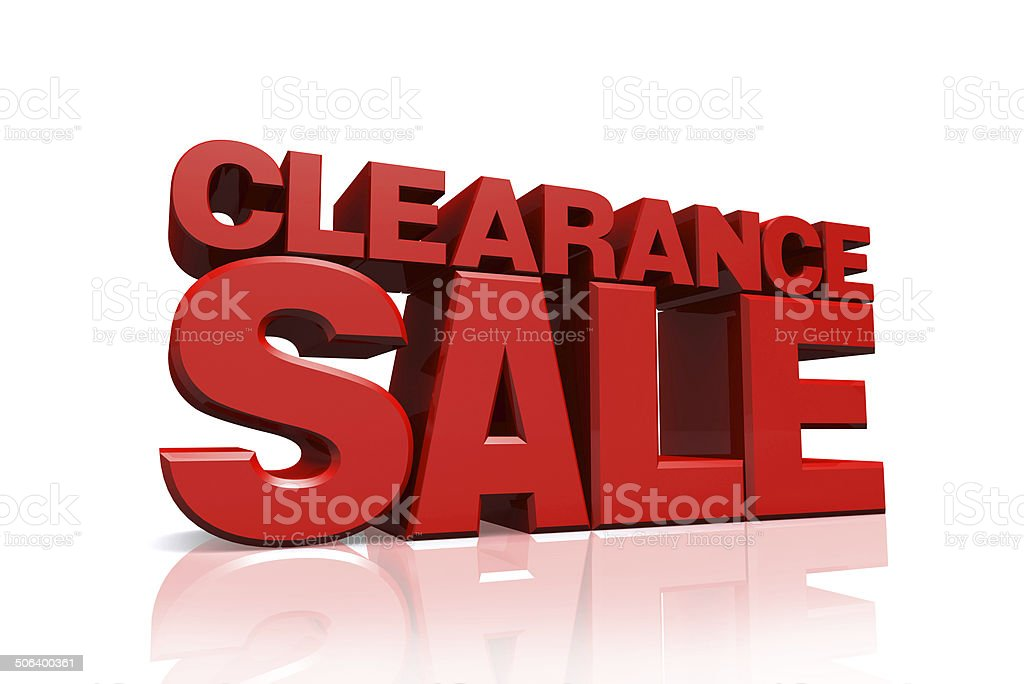 3D red text clearance sale stock photo