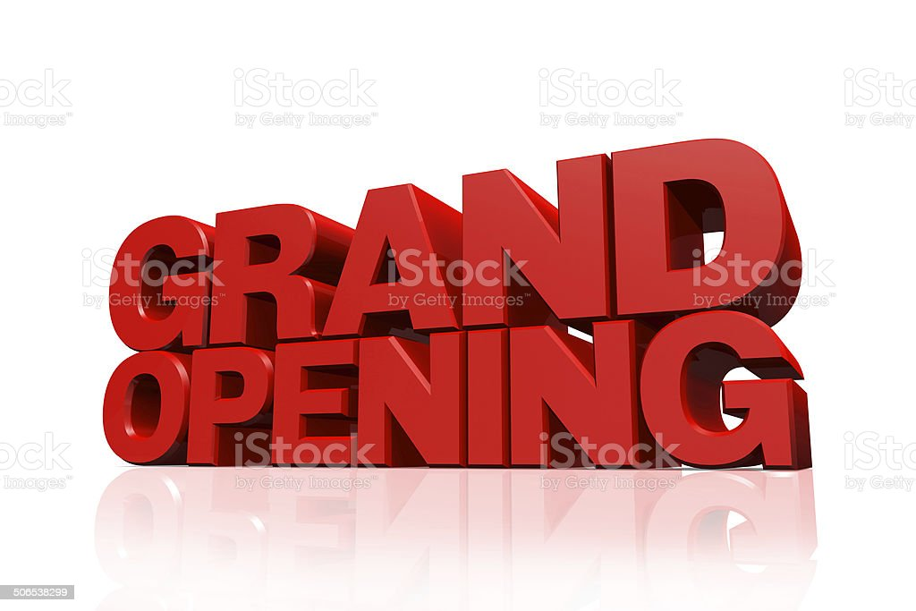 3D red text grand opening stock photo