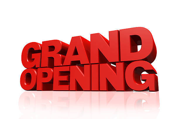 3 d rojo texto de gran apertura - gran inauguración fotografías e imágenes de stock