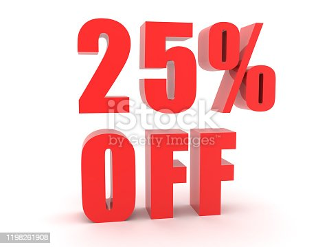 istock 3D Red text saying 25 percent off 1198261908
