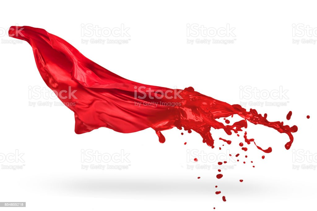 Red textile melted to liquid paint stock photo