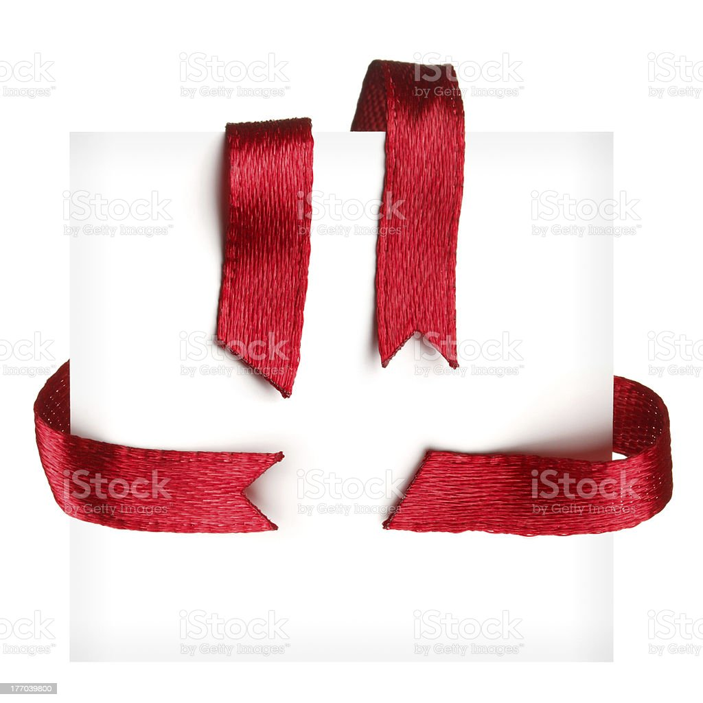 Red textile ribbons set stock photo
