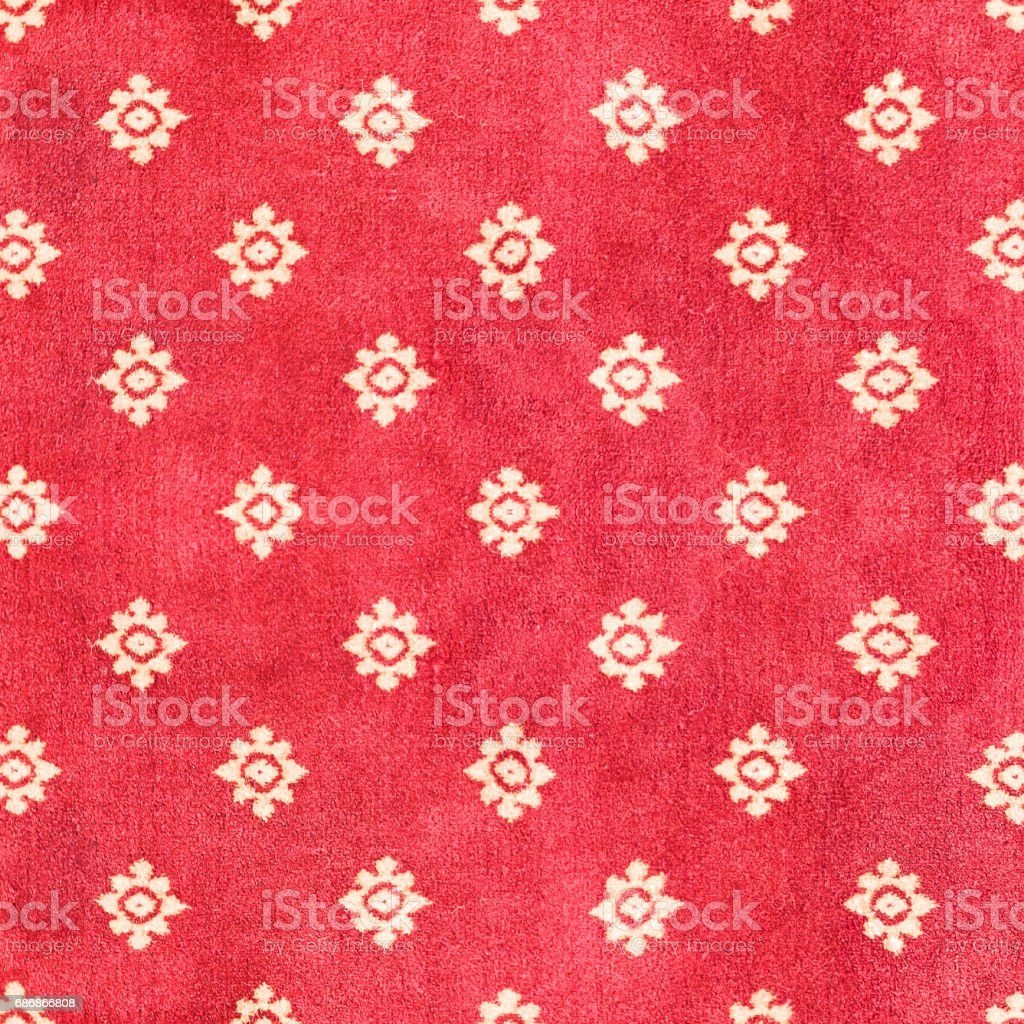 Red Thai carpet with pattern background and texture. stock photo