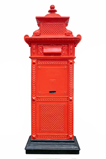 Red Thailand postbox isolated on white background