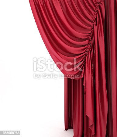 istock Red theater curtain. 3d background. 583958266