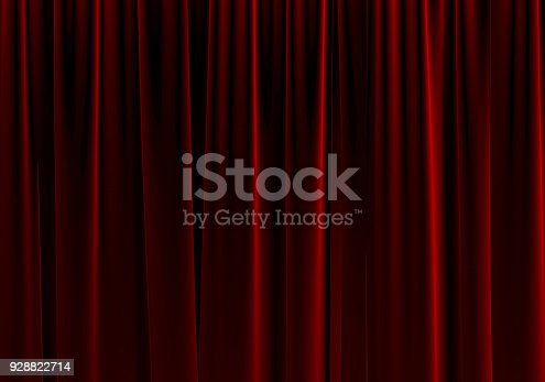 939154550 istock photo Red Theater Curtain. 3d Rendering. 928822714