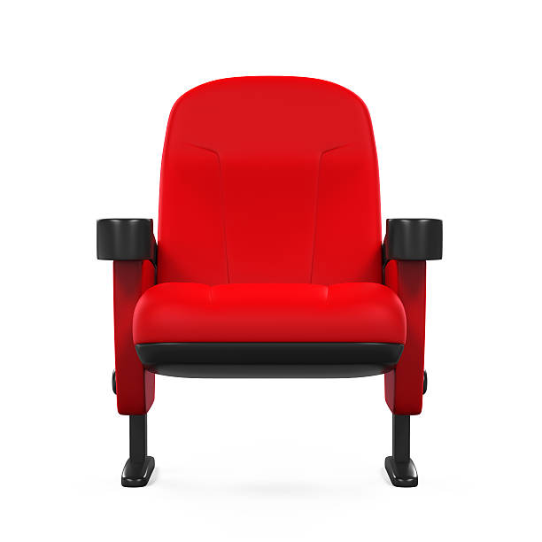 Red Theater Seat Red Theater Seat isolated on white background. 3D render armchair stock pictures, royalty-free photos & images