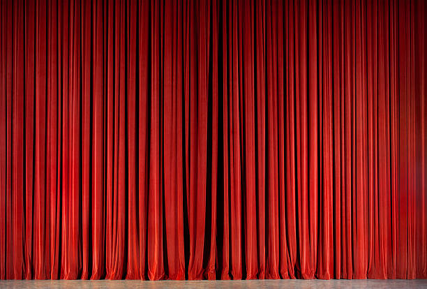 red theatre curtain - curtain stock photos and pictures