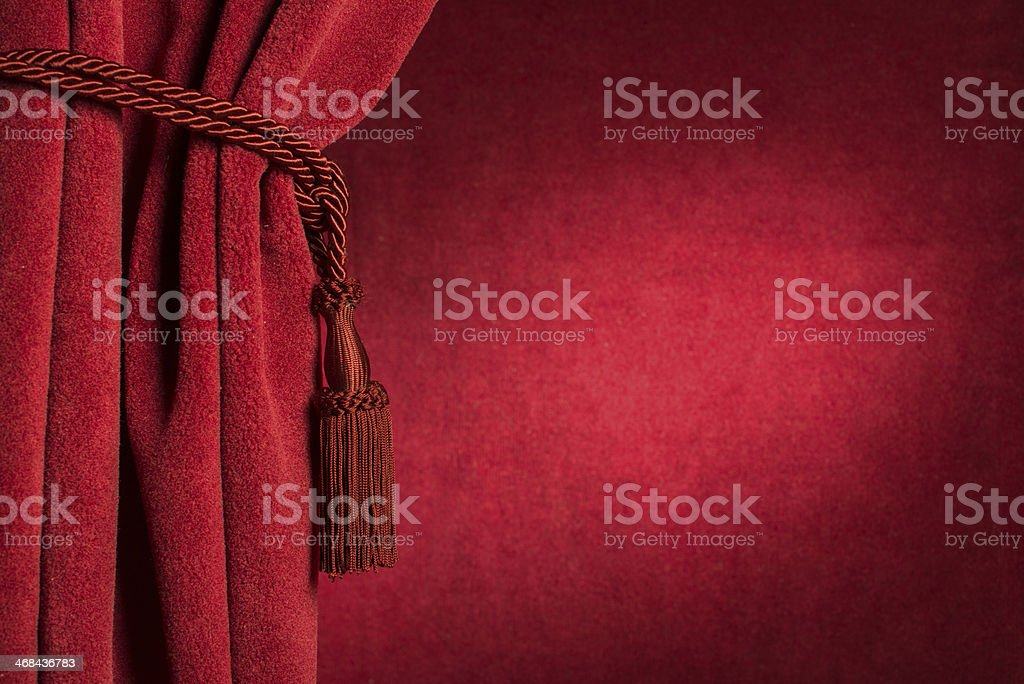 Red theatre curtain stock photo