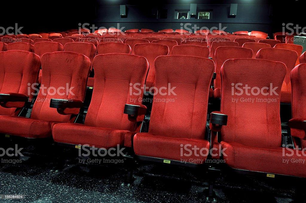 Red theatre seats stock photo