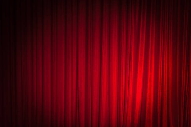 Red Theatre Stage Curtain Background stock photo
