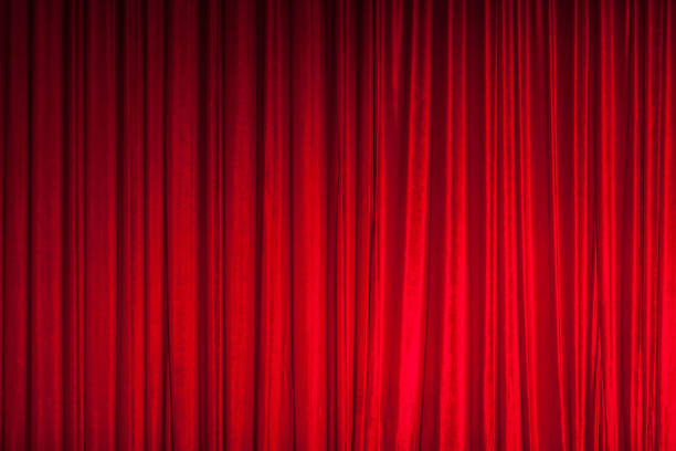 red theatre stage curtain background - curtain stock pictures, royalty-free photos & images