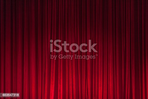 istock Red Theatre Stage Curtain Background 653547318