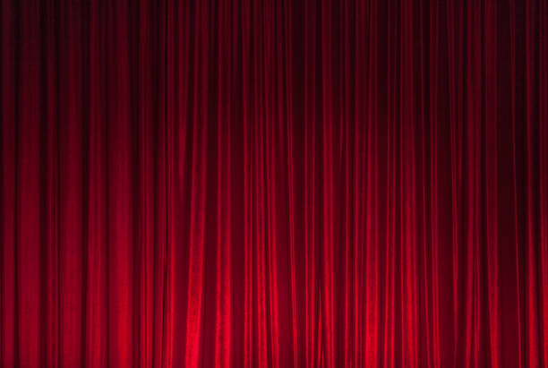 Red Theatre Stage Curtain Background - foto stock
