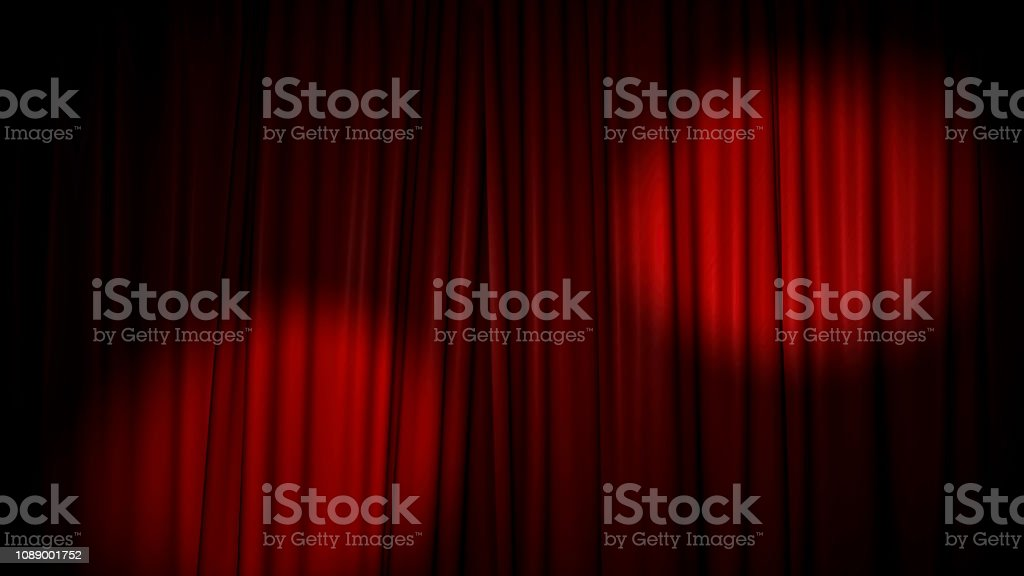 High-resolution 3D animation of the red velvet theatre curtain