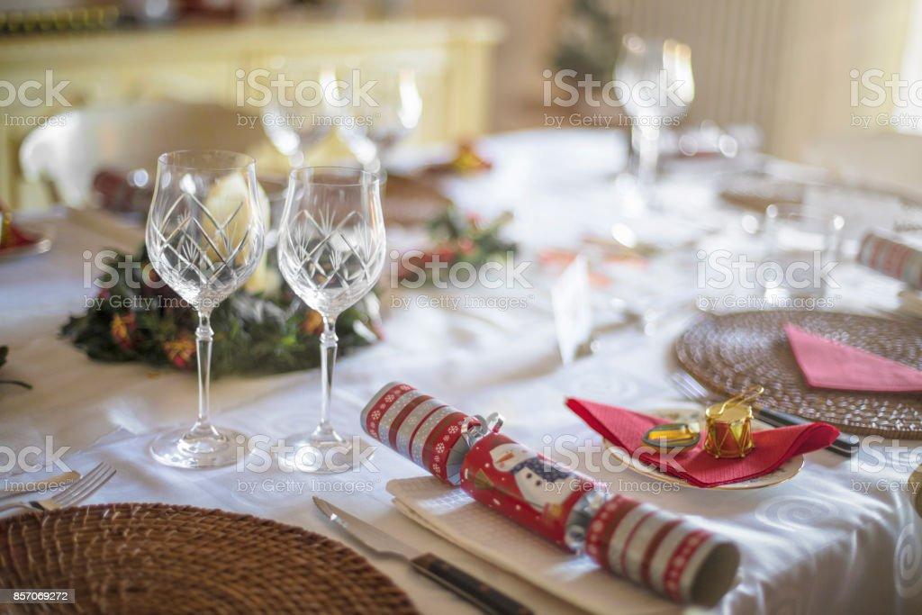 Red Theme Christmas Dinner Table Setting Stock Photo More Pictures