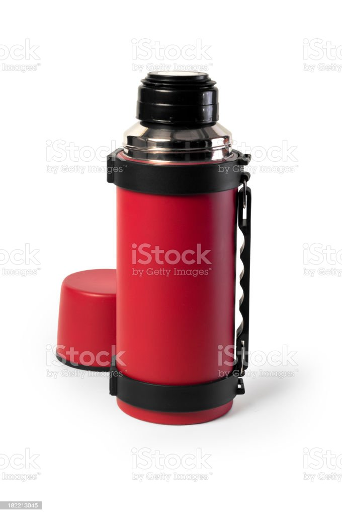 A red thermal flash with a cup stock photo
