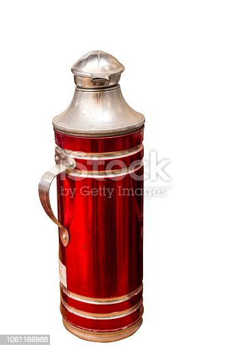 467147506 istock photo Red Thermos bottle the old heat, white backdrop. 1061166988