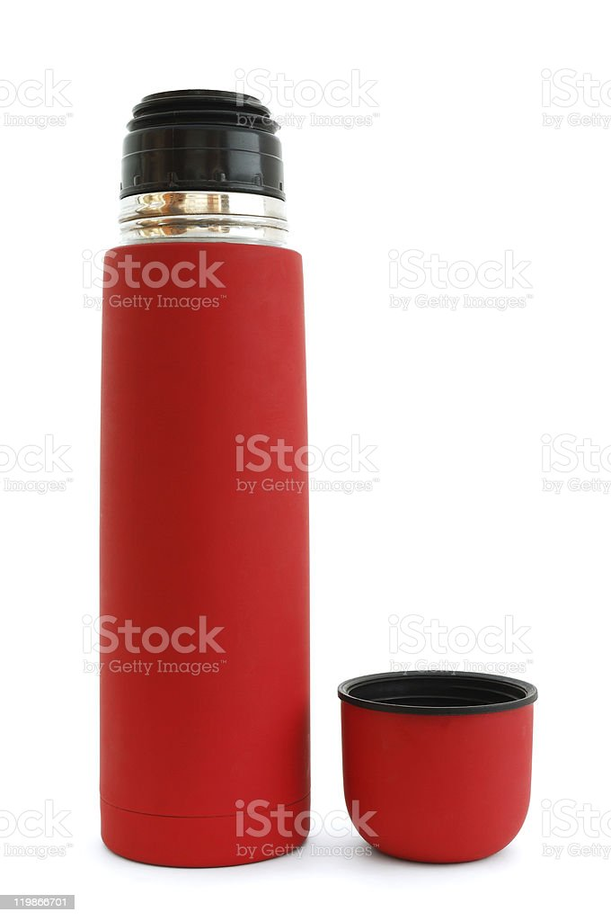 Red thermos stock photo