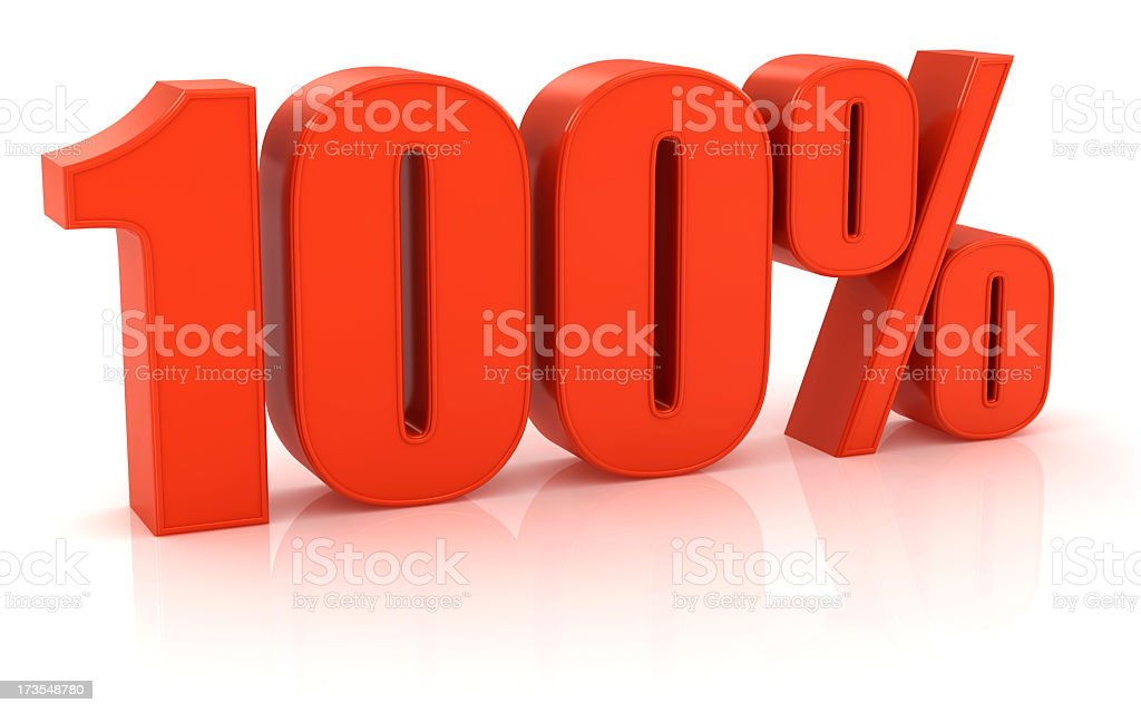 Red three dimensional 100% sign on white background stock photo