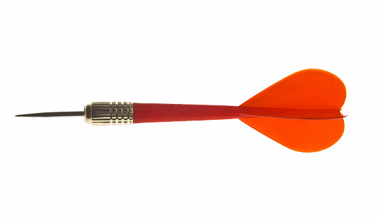 Red throwing dart on white background