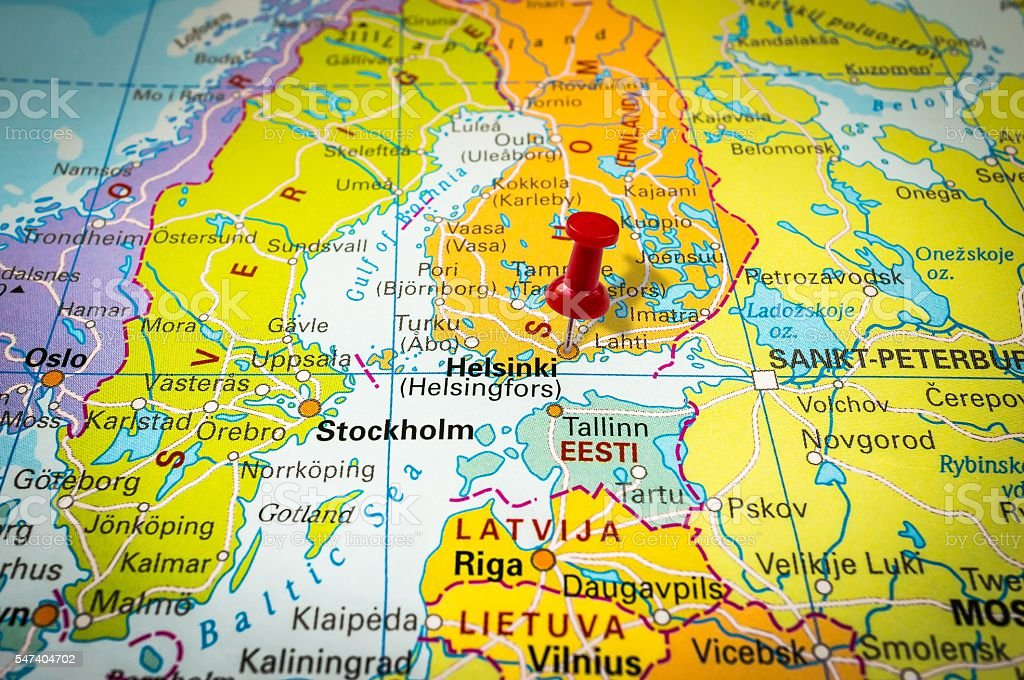 Red Thumbtack In A Map Pushpin Pointing At Helsinki Stock Photo