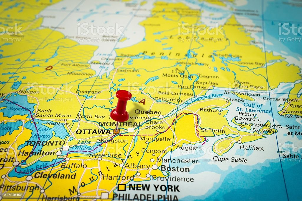Ottawa On Map Of Canada.Red Thumbtack In A Map Pushpin Pointing At Ottawa Stock Photo More