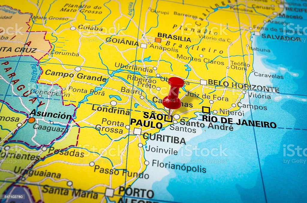 Red Thumbtack In A Map Pushpin Pointing At Sao Paulo ...