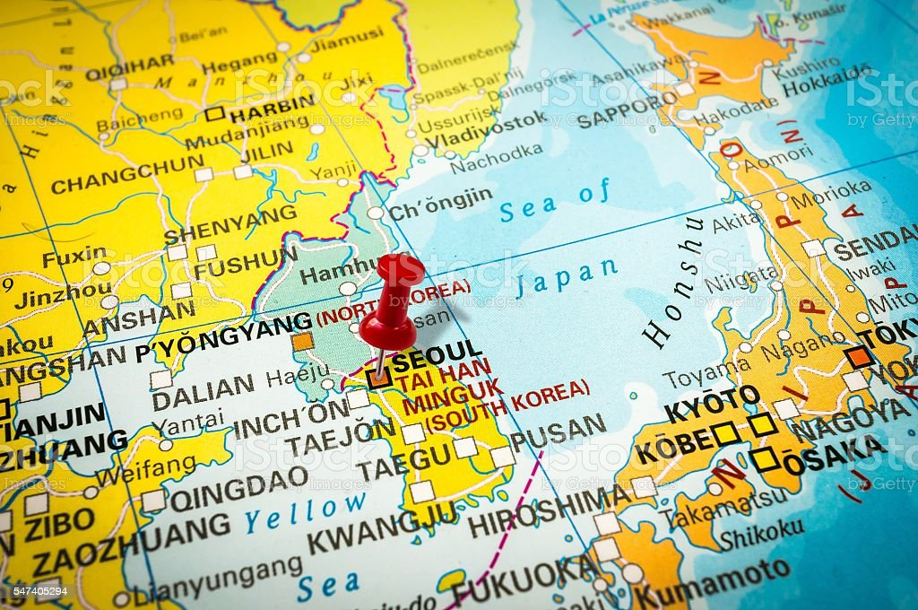 Red Thumbtack In A Map Pushpin Pointing At Seoul Stock Photo