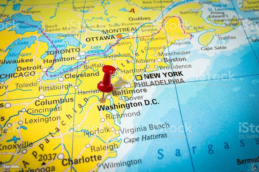 Red Thumbtack In A Map Pushpin Pointing At Washington Dc Stock - Washington dc map usa