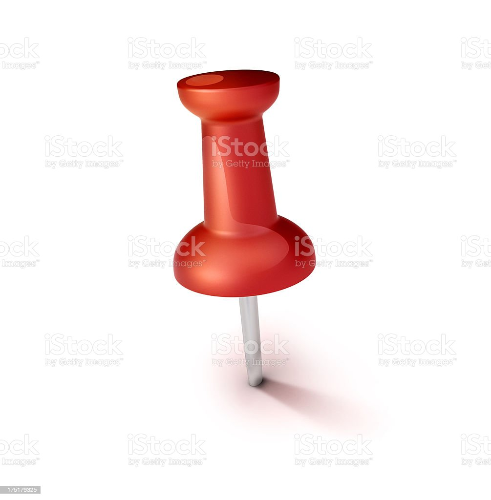 red thumbtack or pinpoint sticked to ground icon stock photo