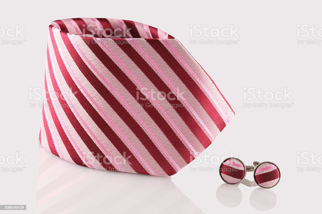 red tie with cuff links stock photo