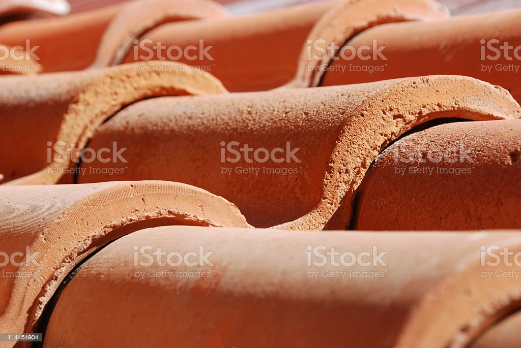 Red Tile for Roofing in New Mexico stock photo