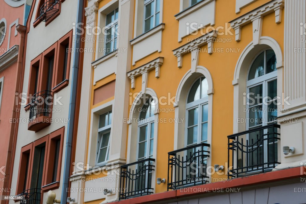 Red tile roof houses in Riga stock photo