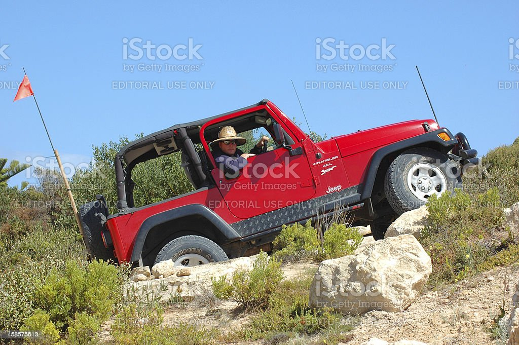 Red TJ Jeep Wrangler between Robe and Beachport, South Australia stock photo