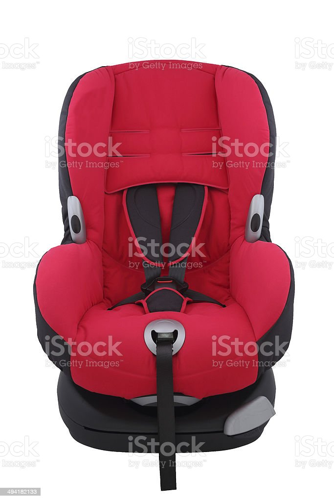 Red toddler car seat on isolated stock photo