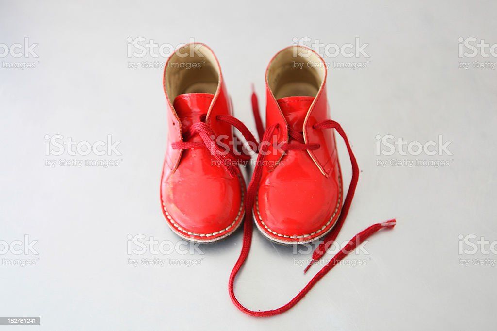 Red toddler's shoes royalty-free stock photo