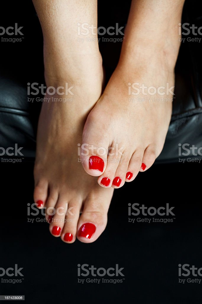 red toenails stock photo