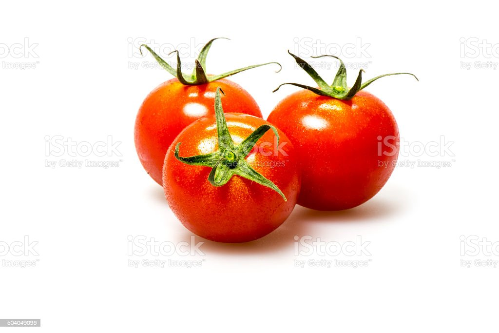 Red tomato on white background stock photo