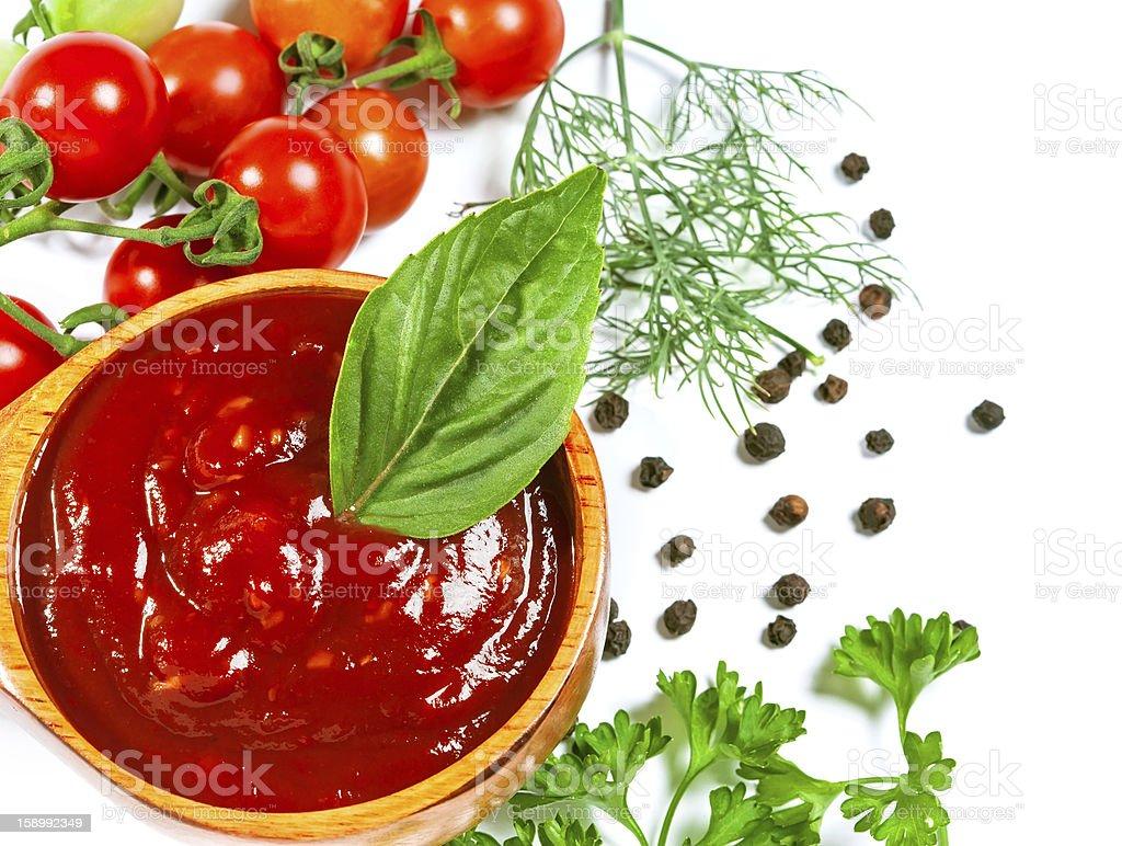 Red tomato sauce stock photo