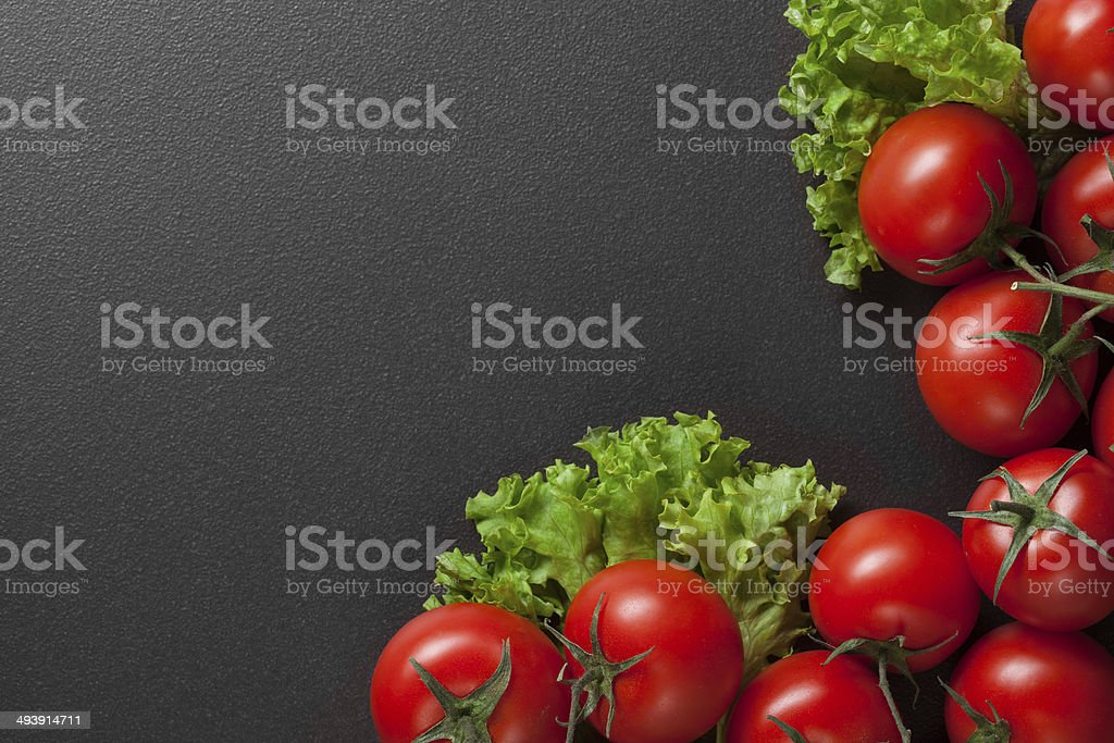red tomatoes with green salad royalty-free stock photo