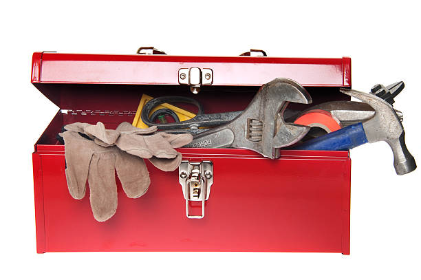 Red Tool Box with Variety of Tools stock photo