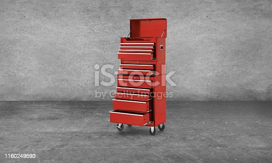 A red tool chest in a garage
